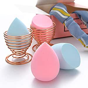 Makeup Beauty Sponges Blender - 7 in 1 Set with 4 pieces Latex Free and Vegan Egg Shaped Blender and 2 Blender Holders and 1 Hair Belt for Flawless Coverage Liquid Creams and Powders