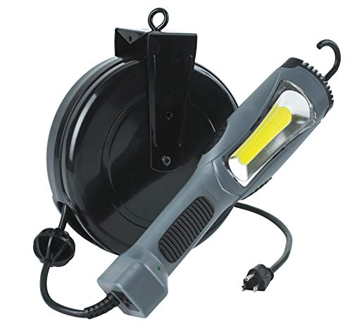 Prolite 5030AM 1300 Lumen Retractable COB LED Cord Reel, 1, Gray