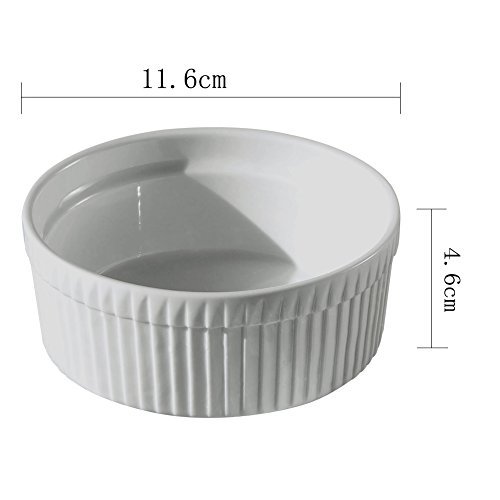 Cinf Porcelain Ramekin White 10 oz. Pudding Bowls Dishes Cup for Baking- Set of 4,Soufflé Cups Dishes, Creme Brulee, Custard Cups, Desserts,Oven,Microwave,Freezer and Dishwasher Safe