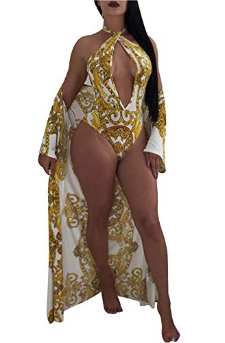FEIYOUNG Women Sexy Three Pieces Tops Bottoms and Floral Cover-ups Summer Beach Swimsuits (Small, Gold - Three Piece Womens