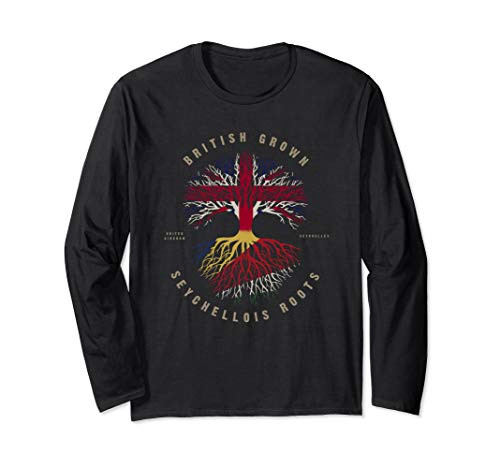UK British Grown Seychellois Roots DNA Seychelles Flag Long Sleeve T-Shirt ()