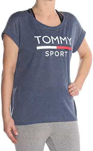 1126b051 Tommy Hilfiger $39 Womens New 1432 Navy Printed Logo T-Shirt Top S B+
