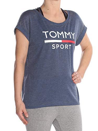 a56d7aa14f9a4 Tommy Hilfiger  39 Womens New 1432 Navy Printed Logo T-Shirt Top S B+