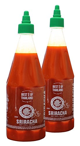 Sriracha Hot Chili Sauce (2 Pack) Real Asian Brewed – No MSG – Kosher Certified – Spicy Dressing for Pizza, Grilled Food, Fish, Meat – Convenient Bottle Size – 24.7-ounce - By Best of Thailand (True Market Foods)