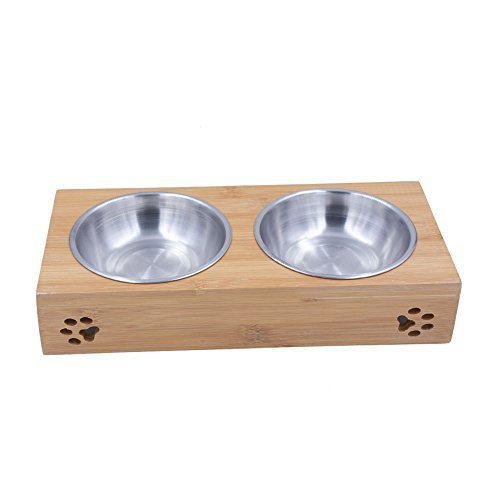 Behomy Elevated Dog and Cat Feeder Table Set, Bamboo Food and Water Bowls Stand Feeder for Puppies, Small-Sized Dogs and Cats, Raised Bowls Stand with Two Stainless Steel Bowls  (Cute Style)