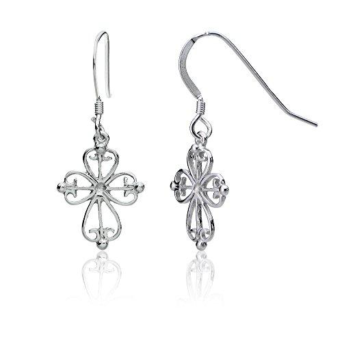 (Sterling Silver Celtic Filigree Cross Dangle Earrings)