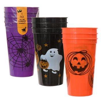 Halloween Tumblers Goblets Cups 4-ct. Packs (ORANGE PUMPKIN JACKO LANTERN) ()
