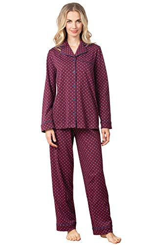 PajamaGram Women Pajamas Set Soft - 100 Cotton Pajamas Women, Burgundy, XS, 2-4 (Elastic Waist Button)