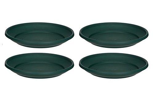 4 x Green Plastic Plant Pot Saucer 32cm Saucer Whitefurze
