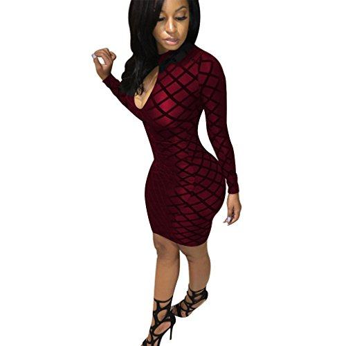 Dreamparis Women's Keyhole Mesh Long Sleeve Bodycon Pencil Midi Club Dresses,Large,Wine Red (Mesh Keyhole)