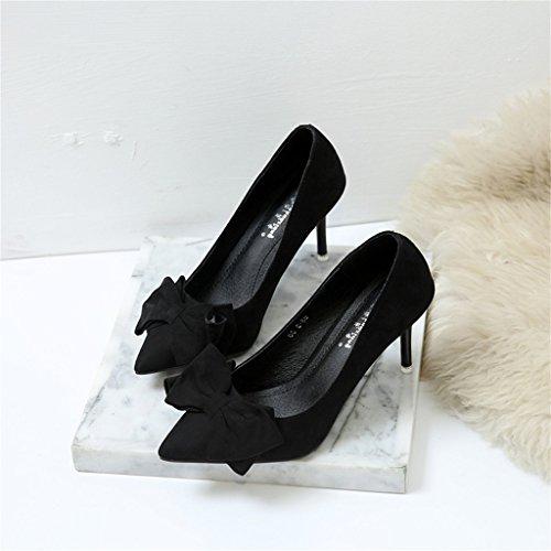 ALUK- Damenschuhe - Stöckelschuhe, Bogenschuhe, wilde Arbeitsschuhe, Brautjungfer Hochzeitsschuhe ( Farbe : Grau , größe : 35-Shoes long225mm ) Schwarz