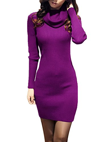 v28 Women Cowl Neck Knit Stretchable Elasticity Long Sleeve Slim Fit Sweater Dress ()