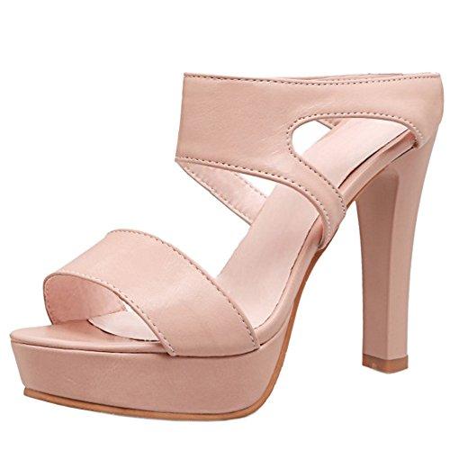 TAOFFEN Verano Plataforma Sin Moda Ancho Sandalias Rosado Tacon Zapatos Cordones Tacon Mulas Alto Mujer FP8rF