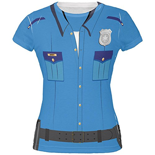 Halloween Patrol Blue Police Officer Costume All Over Juniors T Shirt Multi LG