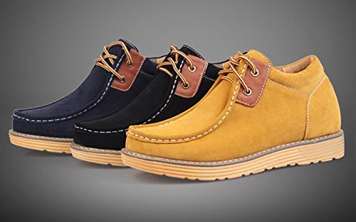 Happyshop(TM) Mens Elevator Shoe Suede Leather Short Boots Business Desert Shoe Height Increasing Shoes (Men 41 EU, Yellow)