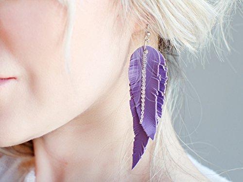 Lavender Feather Leather Earrings, light purple layered earrings, tribal Earrings, Boho earrings, dangle earrings, long earrings