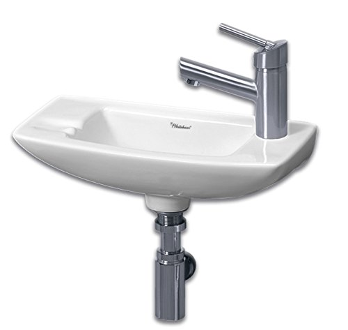 Supreme Vitreous China Lavatory - Whitehaus WH1-103R-WH Isabella 17-1/2-Inch Small Wall-Mount Lavatory Basin with Center Drain and Right-Hand Faucet Drilling, White
