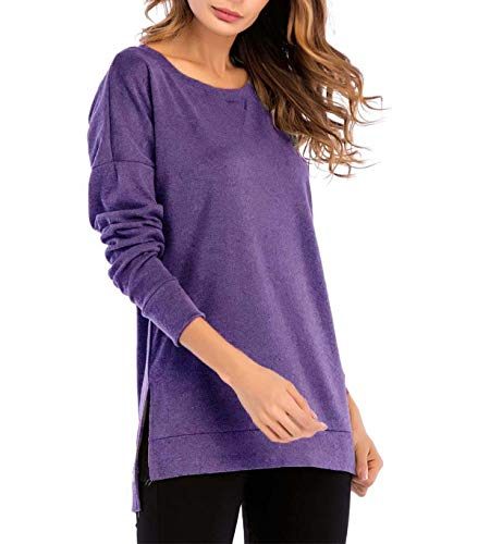 Blouse T À Casual Plaines Mode mode Automne La Jeune Fente Rond ​​manches Purple Col Avec Longues Tees Tops shirt Et Blouses Chemises Pull Jumpers Femmes Simple Printemps Hauts Couleurs zBqBP