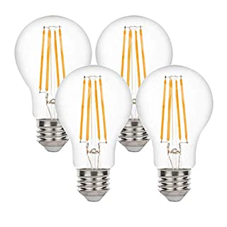 Yueximei A19 Dusk to Dawn Light Sensor LED Bulb, Filament Lamp, 6W 60W Equivalent, E26 5000K, 650 Lumens, Auto On/Off, Indoor Outdoor Lighting Lamp for Porch, Garage, 4 Pack