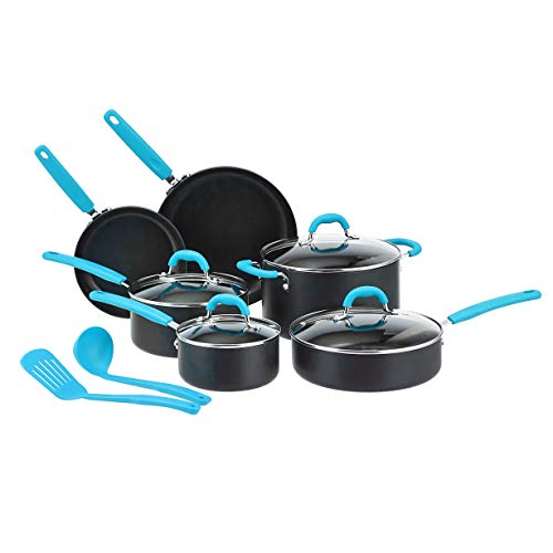 Amazon Basics Hard Anodized Non-Stick 12-Piece Cookware Set, Turquoise – Pots, Pans and Utensils