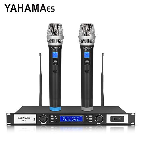 Good sound Adjustable Frequency System!!! Professional YAHAMA 802 Selectable Channel Wireless Microphone System with 2 Handheld cordless Mic