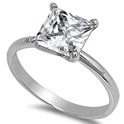 3CT Princess Cut Fashion Engagement .925 Sterling Silver Ring Sizes 4-11 (Princess Cut Diamond Shape Ring)