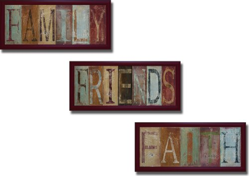 Family, Friends, and Faith by Patricia Pinto 3-pc Premium Mahogany-Framed Canvas Set (Ready-to-Hang) by Artistic Home Gallery