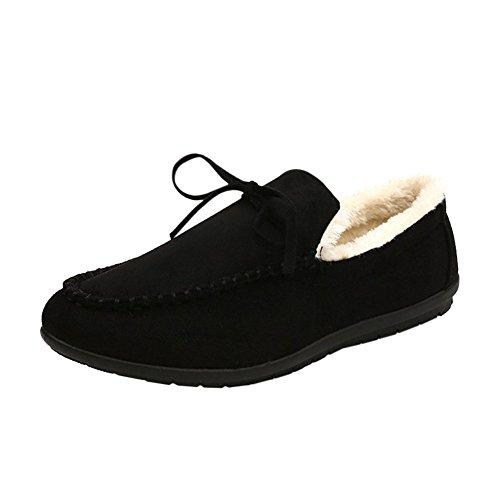 Negro Mocasines Mocasines de 2 bajos gamuza invierno con Zapatillas de de con planos Hzjundasi Zapatos de suela goma piel forro UXzwxBdqUn
