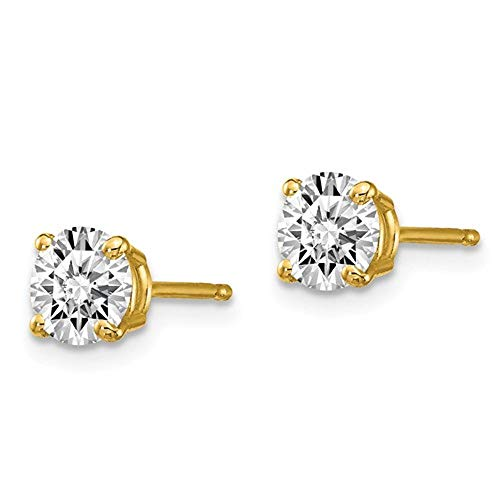 Diamond Stud Earrings:1/5 to 2 Carat TW Round-Cut Lab Grown Diamond Stud Earrings (D-F Color, VS/SI Clarity) in 4-Prong 14K Gold Setting [GSI Certified with Laser Inscription] (yellow-gold, 1.0) 2ct Tw Diamond Setting