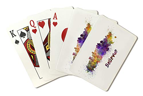 (Bellevue, Washington Skyline Watercolor Illustration A-91381 (Playing Card Deck - 52 Card Poker Size with Jokers))