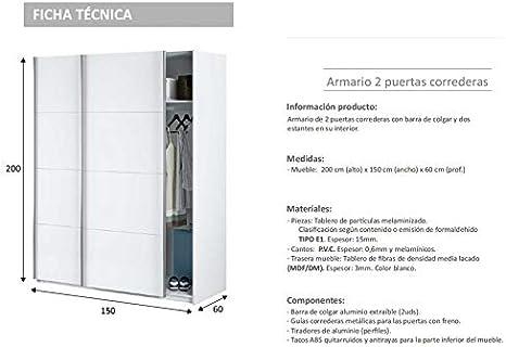 HABITMOBEL Armario Dormitorio Blanco 204 Puertas corrs, con Fondo ...