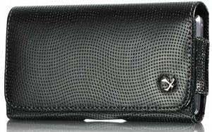 Viesrod Samsung Exhibit 4G Modern Design Tek Leather Case Clip Belt Loop Pouch With Grainy Finish Black