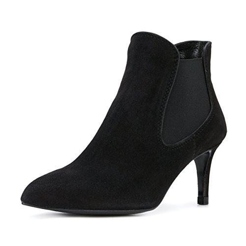 Fsj Donna Moda Scarpe A Punta Stivaletti Tacco Medio Slip On Chelsea Boots Scarpe In Pelle Scamosciata Finta Taglia 4-15 Us Black