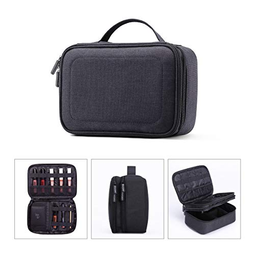 Rownyeon 3 Layers Waterproof Makeup Bag Cosmetic Bags Travel Organizer Mini Train Case with Adjustable Dividers for Cosmetics Makeup Brushes Toiletry Jewelry Digital Accessories