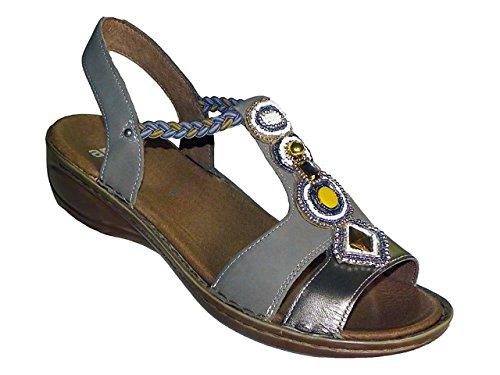 Ara - Sandalias de vestir de Piel para mujer Grigio con monili e cordino