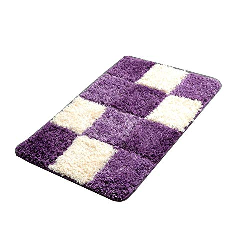 Super Microfibre Anti Slip Bath Mat Bedroom Rug Soft Carpet Doormat,45X75CM,Purple (Bath Mats Anti Slip)