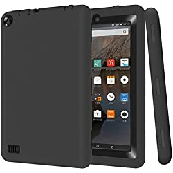 Fire 7 2015 Case, Jwest Hybrid Heavy Duty Rugged Shockproof Cover for Amazon Fire 7.0 Inch Tablet (Previous Generation - 5th) - Black/Black