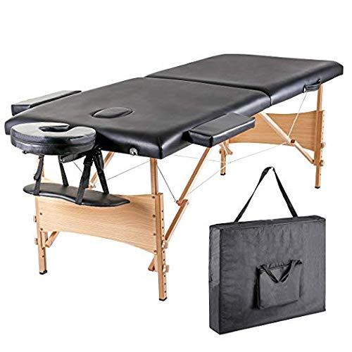 Blissun Massage Table, Portable Massage Table, Professional Folding Facial SPA Bed 84″ (Black)