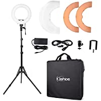 Kshioe 14 Outer 12 Inner Dimmable Led Ring Light, Continuous Lighting Kit Photography Photo Studio light for Makeup, Camera Smartphone Youtube Video Shooting (12 Basic Light (with stand))