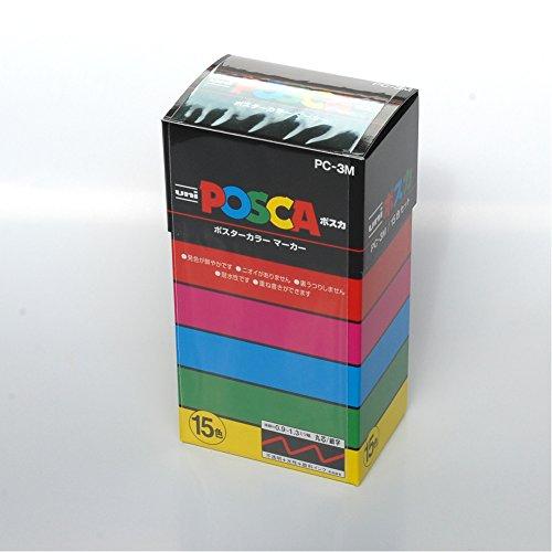 Uni-posca Paint Marker Pen - Fine Point - Set of 15 (PC-3M15C) by uni (Image #1)
