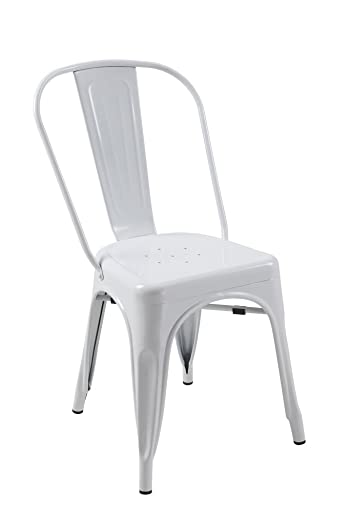 ATC Manhattan Powder-Coated Steel Side Chair, White Pack of 4