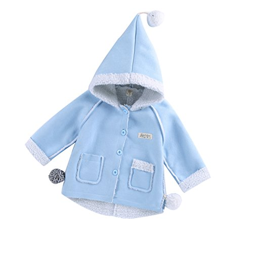 Mekilyn Baby Boy Girl Hoodie Thick Coat Tassels Cloak Winter Warm Jacket Outerwear Pocket Outfit Wind Proof (Blue, 1-2T)