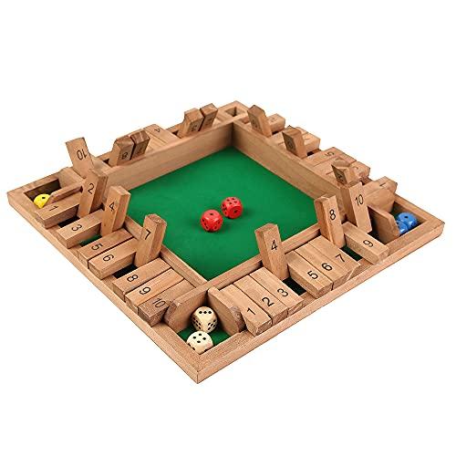 4 Sided Brown Large Wooden Board Game for Digital Learning Risk Management,Drinking Number Flop Game