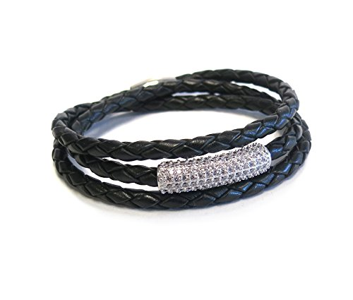 - Liza Schwartz Jewelry The SOBE Bar Triple Wrap (Black-Silver)