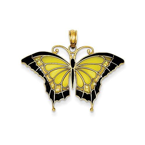 14K Yellow Gold Enameled Butterfly Pendant ()