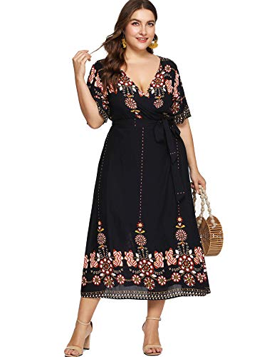 Milumia Women Plus Size Tribal Wrap V Neck Short Sleeves Empire Waist Maxi Dress Black 2XL
