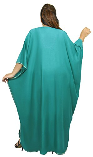 Moroccan Caftan Women Plus size Hand Made Caftan with Embroidery XXL to 4XL Green by Moroccan Caftans (Image #4)