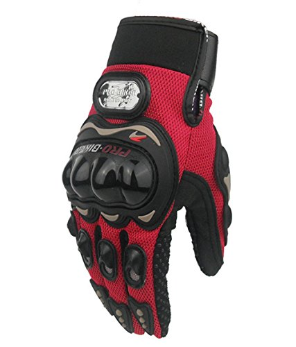 FHSom Men's Motorcycle Red Bicycle Winter Protect Warm Powersports Full Finger Racing Tactical Gloves