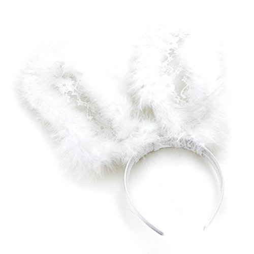 Sexy Cute Fur Lace Bunny Ears Head Band for Halloween Party (White) (Bunny For Halloween)