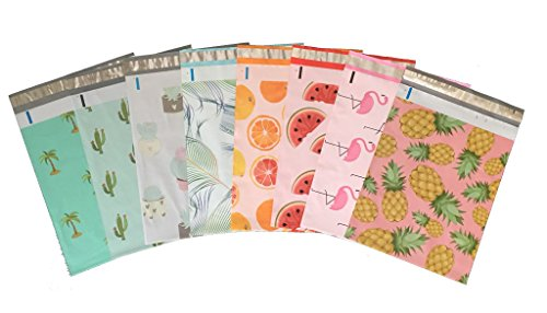 Designer Poly Mailers, Variety Pack, 10x13: Cactus, Pineapples, Citrus, Watermelon, Flamingo, Succulents, Palm Tree, Peacock Self Seal Adhesive, Tear-Proof, Envelope, Bag(40 Pcs (Variety Designer)